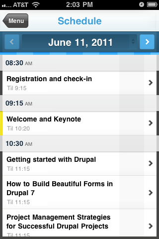 photo of guidebookapp schedule page